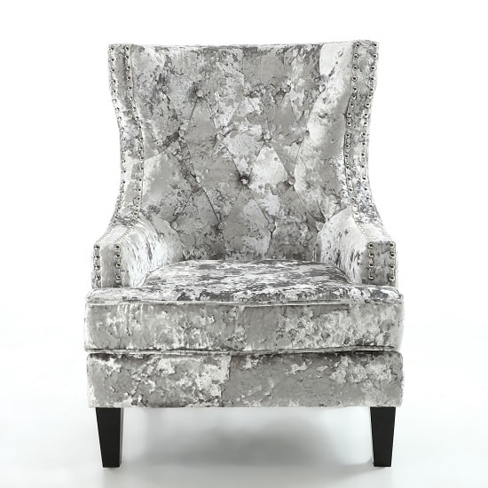 Savoy Arm Chair In Crushed Velvet Silver With Black Legs_2
