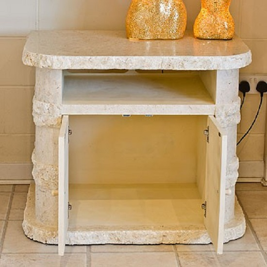 Sawyer tv stand in mactan stone with 2 doors and shelf for Sawyer marble jewelry stand