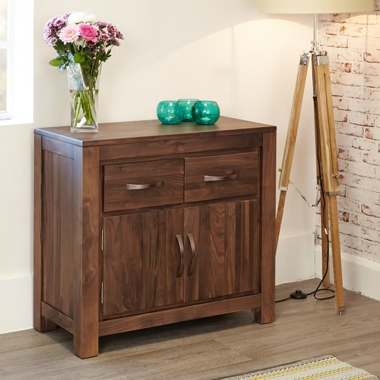 Sayan Wooden Compact Sideboard In Walnut With 2 Doors