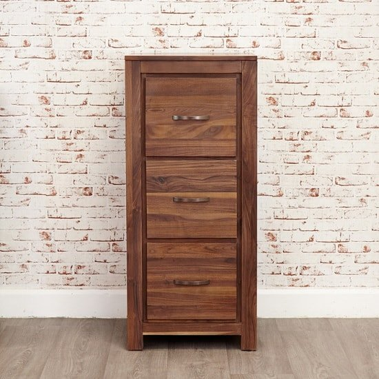 Sayan Wooden Filing Cabinet In Walnut With 3 Drawers