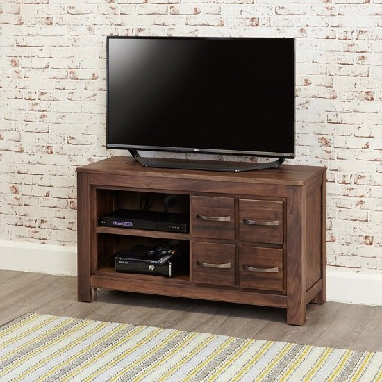 Sayan Wooden TV Stand In Walnut With 4 Drawers