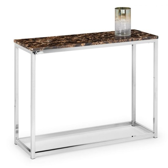 Scala Bronze Marble Top Console Table With Chrome Base