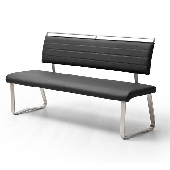 Scala Dining Bench In Black PU And Brushed Stainless Steel
