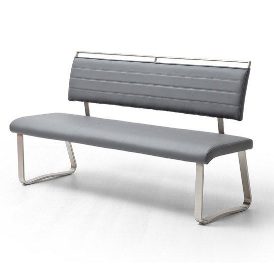 Scala Dining Bench In Grey PU And Brushed Stainless Steel