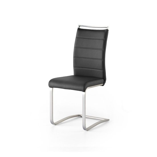 Scala Dining Chair In Black PU With Brushed Stainless Steel Legs_1