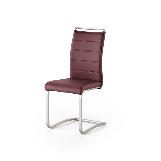 Scala Dining Chair In Bordeaux PU And Brushed Stainless Steel