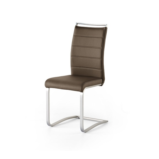Scala Dining Chair In Brown Pu With Brushed Stainless Steel