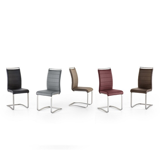 Scala Dining Chair In Grey Pu With Brushed Stainless Steel