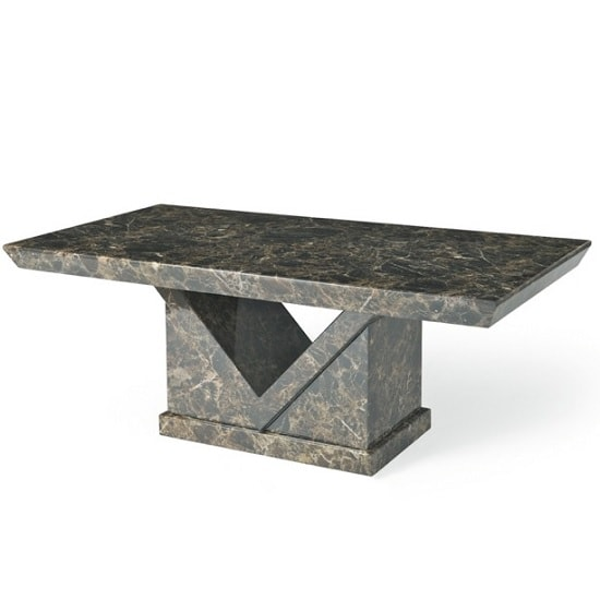 Scalea Wooden Marble Effect Coffee Table In Brown