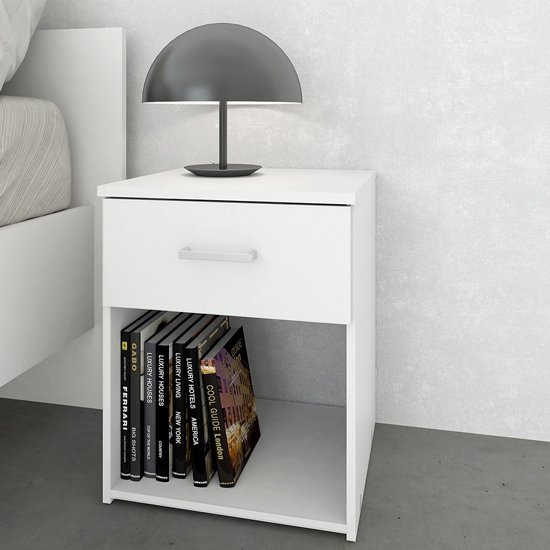 Scalia Wooden Bedside Cabinet In White With 1 Drawer