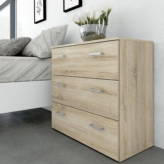 Scalia Wooden Chest Of Drawers In Oak With 3 Drawers