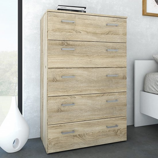Scalia Wooden Chest Of Drawers In Oak With 5 Drawers