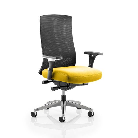 Scarlet Home Office Chair In Yellow With Castors