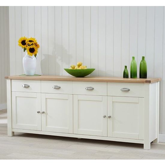 Schedar Extra Large Wooden Sideboard In Oak And Cream_2