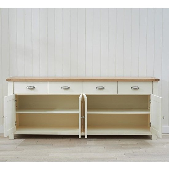 Schedar Extra Large Wooden Sideboard In Oak And Cream_3