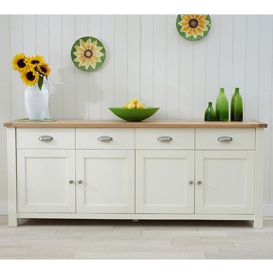 Schedar Extra Large Wooden Sideboard In Oak And Cream_1