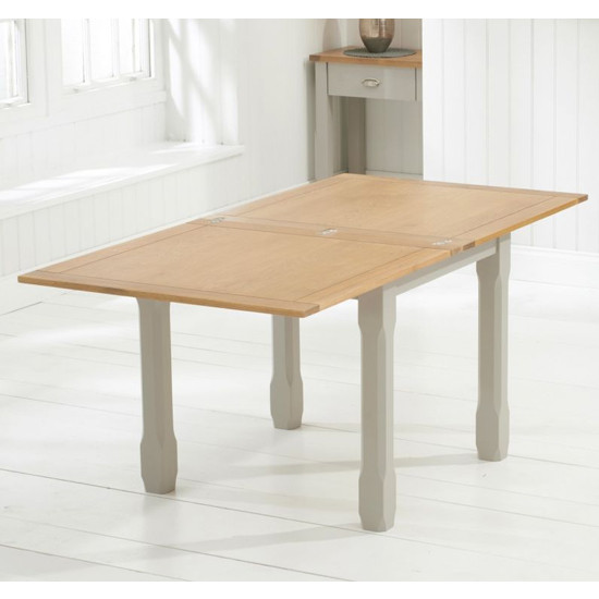 Schedar Flip Top Dining Table In Oak And Grey