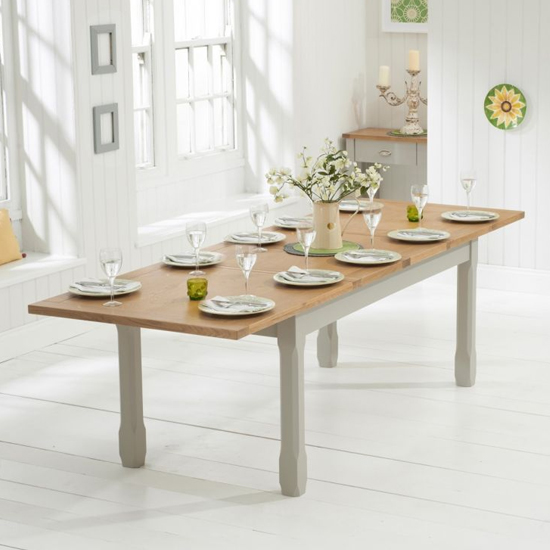 Schedar Large Wooden Extending Dining Table In Oak And Grey