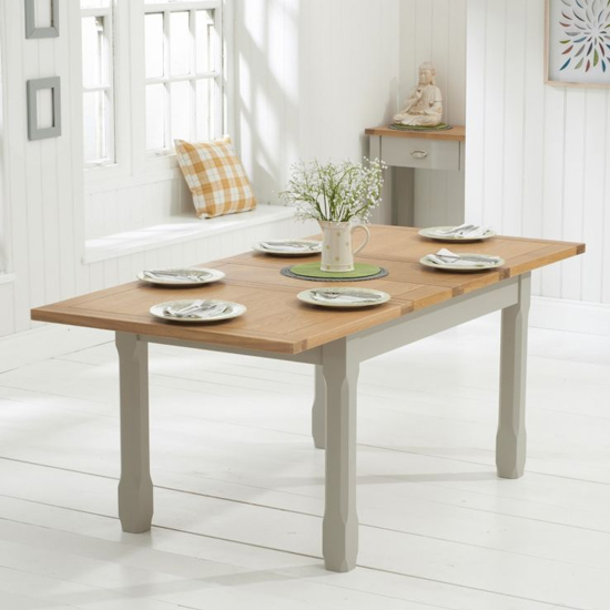 Schedar Wooden Extending Dining Table In Oak And Grey