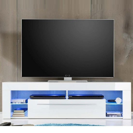Sorrento Lowboard Tv Stand In White High Gloss With Blue
