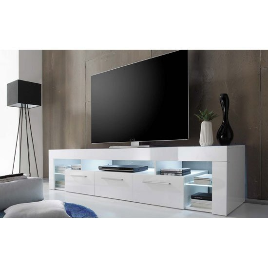 Sorrento Large TV Stand In White High Gloss With White LED