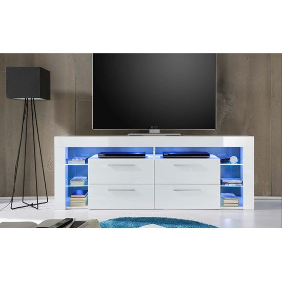 Sorrento Tall Lcd Tv Stand In White Gloss With Blue Led