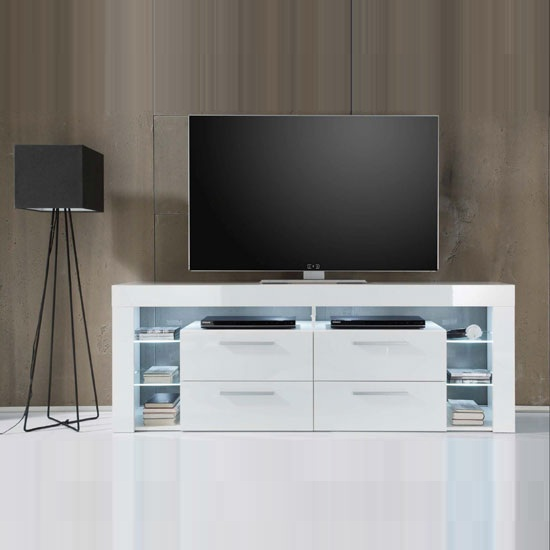 Sorrento Tall Lcd Tv Stand In White Gloss With White Led
