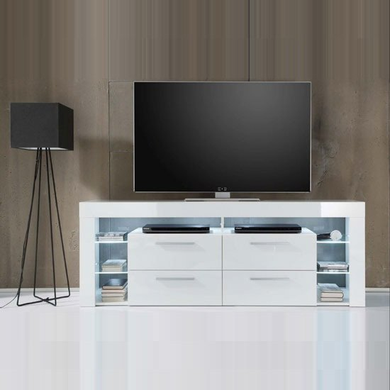 Sorrento High LCD TV Stand In White Gloss With White LED Light