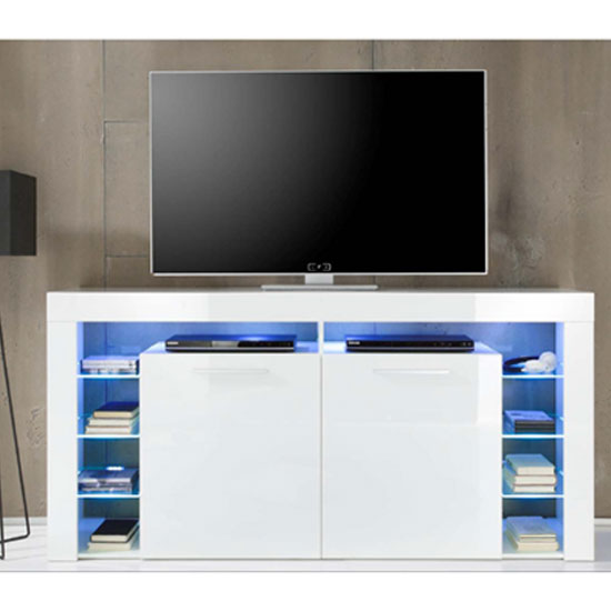 Score Sideboard TV Stand In White Gloss With Blue LED Light