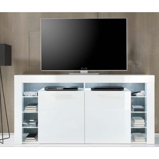 Sorrento Sideboard TV Stand In White Gloss With White LED Light