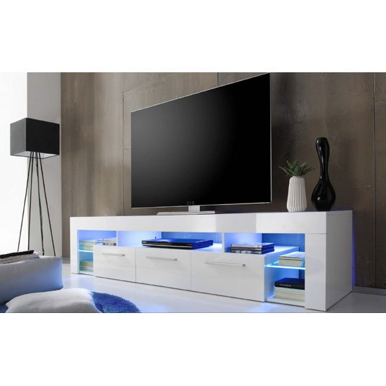 Soro Large Tv Stand In White High Gloss With Blue Led Light 1