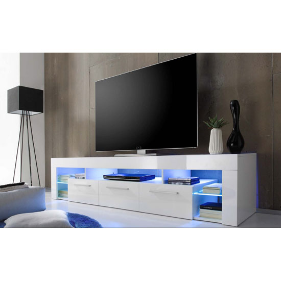 Sorrento Large TV Stand In White High Gloss With Blue LED Light