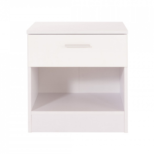 Scorpius Bedside Cabinet In White And White Oak With 1 Drawer