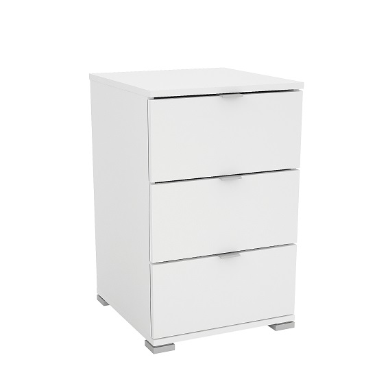 Scott Wooden Bedside Cabinet In Matt White With 3 Drawers