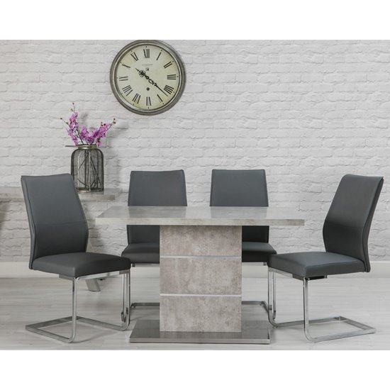 Seattle Marble Effect Dining Set With 4 Grey Dining Chairs
