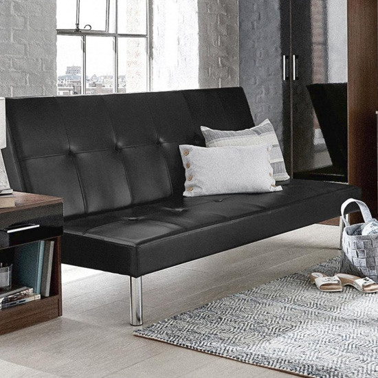 Seattle Faux Leather Sofa Bed In Black_1