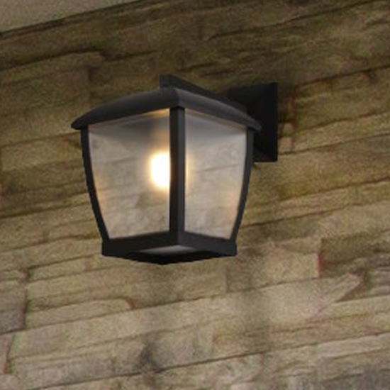 Seattle Outdoor Wall Light In Black With Clear Acrylic Panels