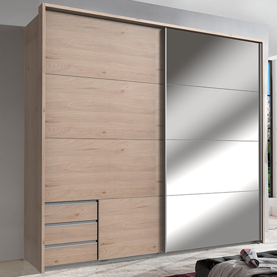 Seattle Sliding Door Mirrored Wardrobe In Hickory Oak