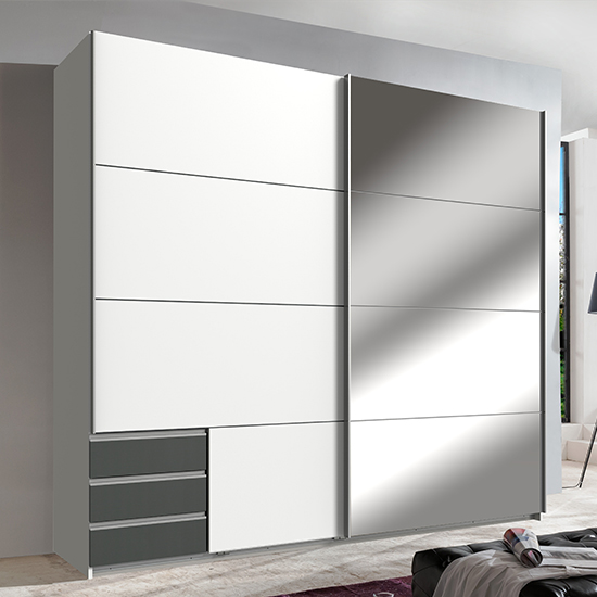 Seattle Sliding Door Mirrored Wardrobe In White And Graphite