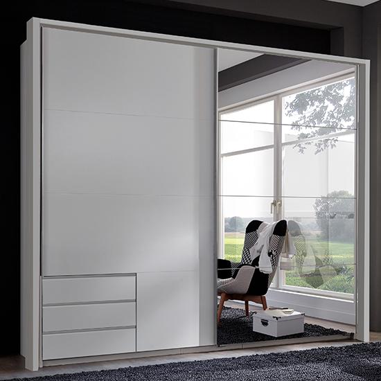 View Seattle sliding door mirrored wardrobe in white