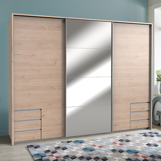 Seattle Sliding Door Mirrored Wide Wardrobe In Hickory Oak_1