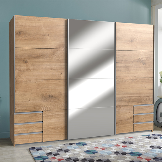 Seattle Sliding Door Mirrored Wide Wardrobe In Planked Oak
