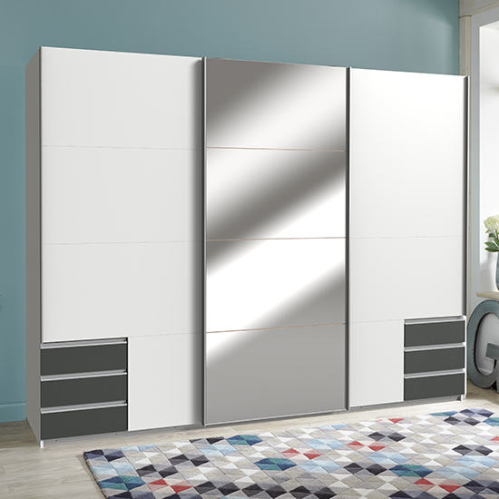 Seattle Sliding Mirrored Wide Wardrobe In White And Graphite