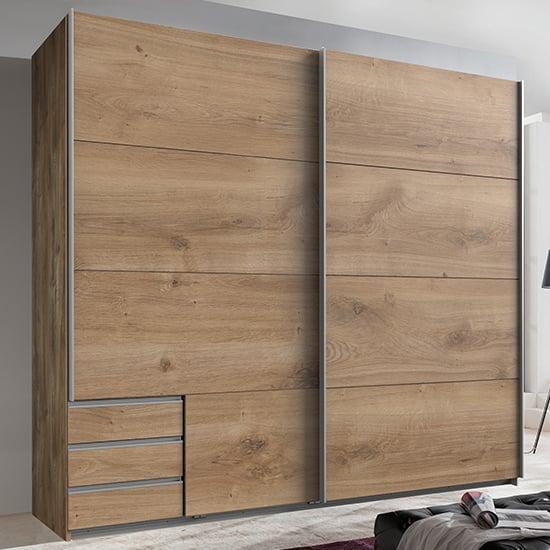 View Seattle sliding door wooden wardrobe in planked oak