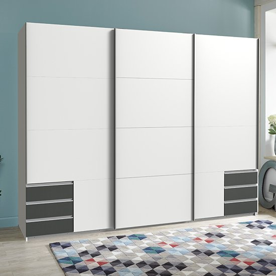 View Seattle sliding door wooden wide wardrobe in white and graphite