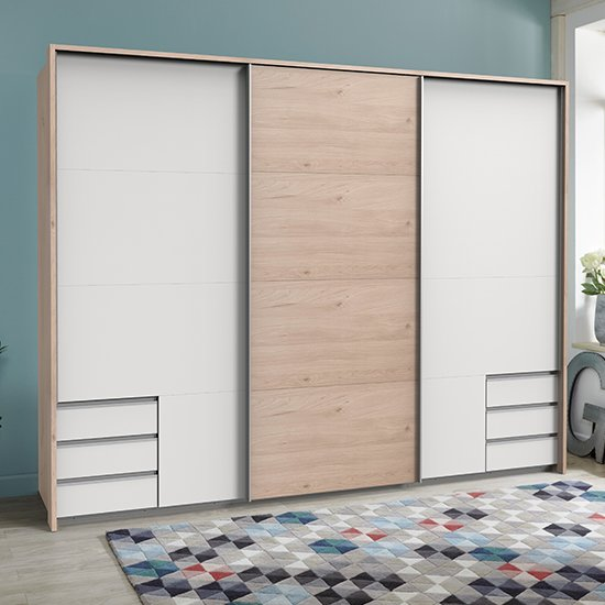 Seattle Sliding Door Wide Wardrobe In White And Hickory Oak