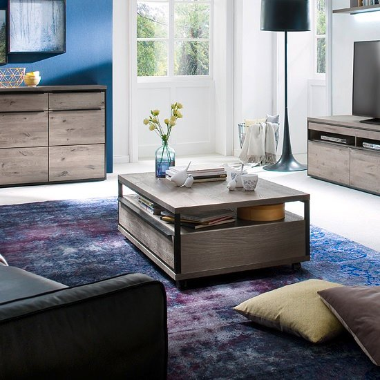 Oak And Stone Coffee Table: Seattle Coffee Table In Oak And Stone Grey With Metal
