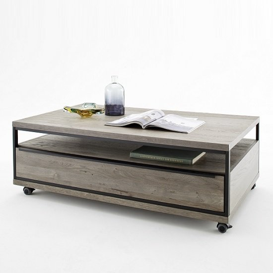 Seattle Coffee Table In Oak And Stone Grey With Metal