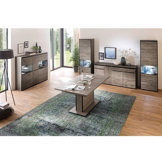 Seattle Wooden Left Display Cabinet In Oak Stone Grey And LED_4