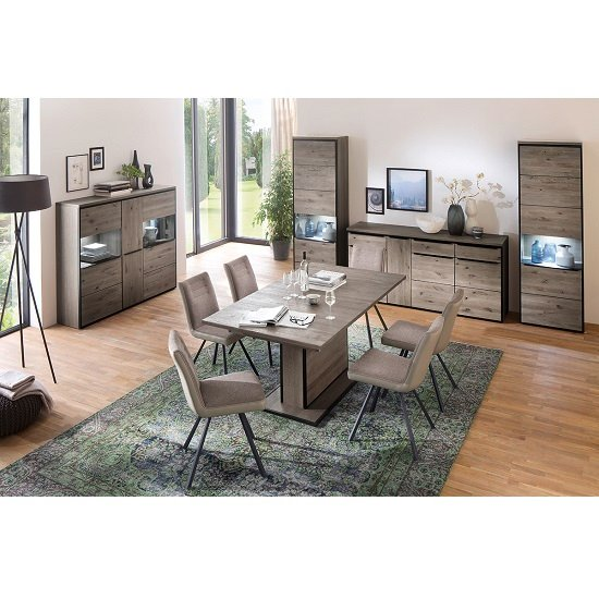 Seattle Wooden Left Display Cabinet In Oak Stone Grey And LED_6